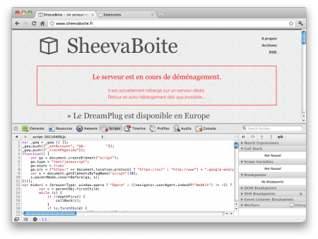 Capture de l'inspector de chrome en version prettified