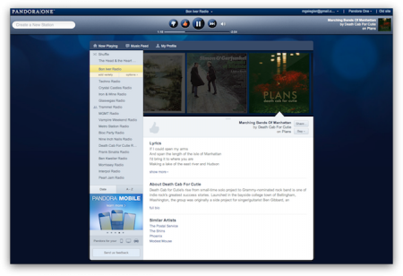 Capture de la nouvelle interface de Pandora